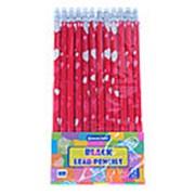 Набор чернографитных карандашей с ласт. Darvish HB, корпус цветной сердца, 12 шт. DV-5599 фото