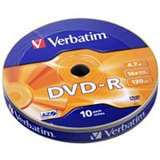 Оптический диск DVD-R 4.7 Гб Verbatim в обтяжке 10шт. фото