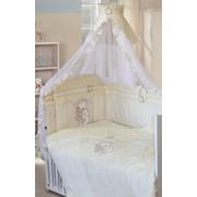 Комплект в кроватку для новорожденных Сабина с тамбурной вышивкой, 7 предметов, Золотой Гусь фото