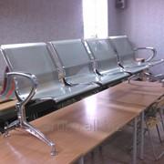Секция кресел для залов ожидания антивандальная, опоры хромированные фото