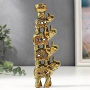 "Сувенир полистоун подсвечник ""Пирамида из 4-х слонов в попоне с зеркалами"" 20х6,5х3 см фото"