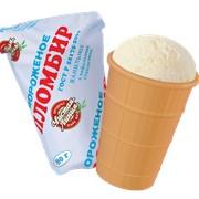 Мороженое Пломбир ванильный в вафельном стаканчике фото
