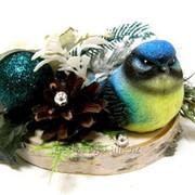 """Композиция """"Синяя птичка на срубе"""" БФ20014 фото"""