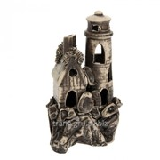 Аквадекор-грот для аквариума ''Маяк с домиком'' шамот 10х13х20 см фото