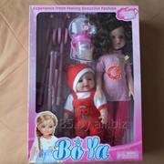 Набор кукол. В наборе кукла большая, кукла маленькая, бутылочка, коляска трость. фото