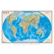 Карта настенная Мир. Физическая карта, М-1:25 млн., размер 122х79 см, ламинированная фото