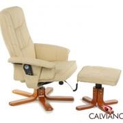 Кресло массаж + пуф массаж TV Calviano (бежевое) крест фото
