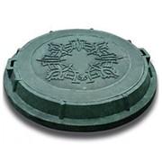 Люк полимерный с крышкой ЛОП 1,5 т D 740/595 зеленый фото