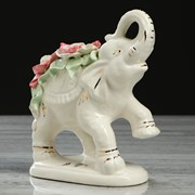 """Статуэтка """"Слон Индийский"""", белая, цветная лепка, гламур, 18 см фото"""