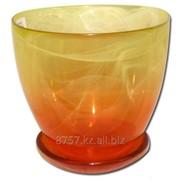 Горшок цветочный №4, диаметр 15,5 см, цвет оранжевый/желтый фото