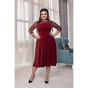 Платье женское бордо с гипюром (4 цвета) ВВ/-019 фото