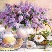Картина стразами Сирень и белые розы 40х50 см фото