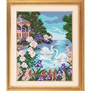 "Рисунок на ткани для вышивания бисером ""На озере"" VKA4015 фото"