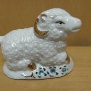 Набор овечек 6 шт.фарфоровые с золотом- гжель, арт. 1270Е фото