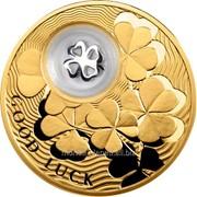 Монеты на счастье. Четырехлистный клевер - позолоченная серебряная монета с серебряным элементом во внутренней капсуле (в открытке) фото