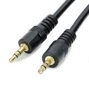 Аудио кабель штекер-штекер 3.5 мм, чёрный - 0.3 метра фото