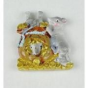 Крыса с мешком денег магнит керамика 7см уп/24 (3) фото