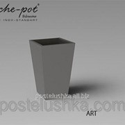 Кашпо из нержавеющей стали Art, поверхность зеркальная 44x44x75 см фото
