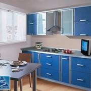 Кухня с фасадами Софт голубой, кромка алюминий фото