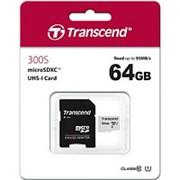 Карта памяти микро SDXC 64 Гб класс 10 UHS-I 300S - Transcend - с адаптером SD фото