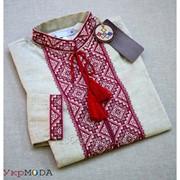 Современная льняная мужская рубашка с красной вышивкой (Б-08) фото