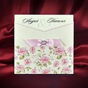 Пригласительные на свадьбу в нежно-розовых тонах (арт. 5558 фото
