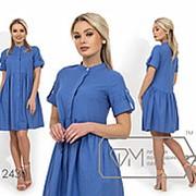 Платье женское из льна (4 цвета) - Синий НК/-716490 фото