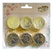 Свадебные монеты с пожеланиями золотые 4см 12шт фото