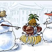 Карикатура. Снеговик фото