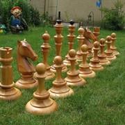 Шахматы садовые дерево, шахматы садовые из массива фото