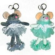 Мягкая игрушка брелок Мышка в платье 14х26см 1/12 фото