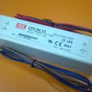 Блок питания MEAN WELL LPV-35-12 , вход 90-264VAC, выход 12VDC/3A/35W 148х40х30 IP67 фото