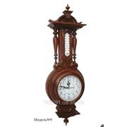 Часы настенные в деревянном корпусе с термометром модель №9 фото