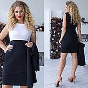 Деловое двухцветное платье женское с накидкой (8 цветов)-Черный ТК/-1161 фото