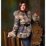 Дизайнерская куртка с мехом черно-бурой лисицы фото