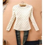 Женский свитер белого цвета 1591-2 фото