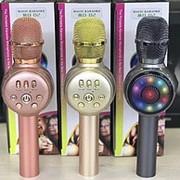 Bluetooth караоке микрофон MD-02 со cветомузыкой (розовый) фото