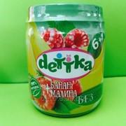 Пюре из банана и малины для детского питания ТМ DETTKA фото