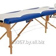 Складной 2-х секционный деревянный массажный стол BodyFit, бело-синий фото