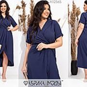 Эффектное платье женское с имитацией запаха (2 цвета) PY/-1010 - Темно-синий фото