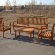 Комплект садовый из акации (2 стула, лавка и ж.столик) фото