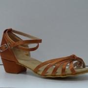 Туфли для бальных танцев, каблук 3 см (коричневый) фото