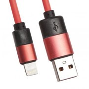 USB кабель «LP» для Apple 8 pin круглый soft touch металлические разъемы(розовый/европакет фото