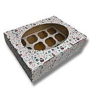 Коробка для кексов 12 ячеек пончик фото