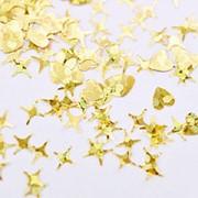 Patrisa Nail, Камифубуки «Сердце и звезды» №К100, микс, голография, золото фото