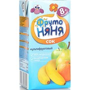 Фрутоняня сок мультифрукт (яблоко, банан, груша, апельсин) б/сах. с мяк. (с 8 мес) 0,2л фото