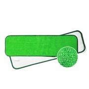 Тряпка для швабры зеленая, влажная уборка, двойная система Cotton Flat Wetmop 40cm Geen-White Double Function фото