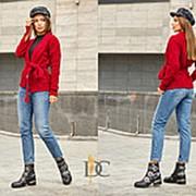 Вязаный кардиган женский с узором Ромб на поясе (7 цветов) - Красный фото