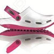 Клоги Walkmaxx белые с розовым фото