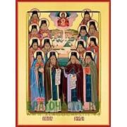 Храм Покрова Богородицы Оптинские старцы, святые преподобные, икона на сусальном золоте (дерево 2 см с ковчегом) Высота иконы 10 см фото
